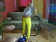 Skinny blonde housewife in pantyhose rides hard boner