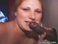 Blonde Takes Cumshot From Big Black Cock At Glory Hole