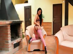 stunning super brunette with pink socks