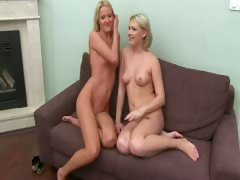 Fake agent fucking with two blonde teens