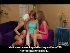 Three hot lesbian chicks licking pussy and tits and fucking with strapon