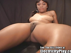 Thin Ebony Lucky gets shocked for revenge by Dr Sparky