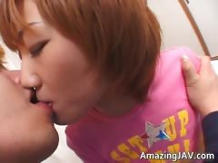 Tiny asian redhead having fun