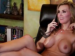 British slut Tanya in a lesbian scene on a wooden sofa
