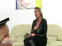 Mature woman penetrate on leather couch