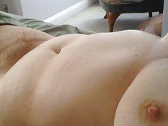 rubbing her soft belly & round hairy mound.