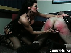 Kinky and weird dark head slut tied dude