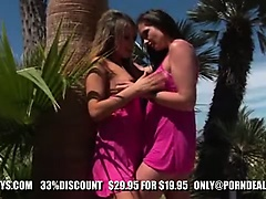 Hot babes Aleska Diamond and Sandra Shine eat pussy outdoor