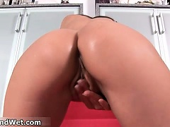 Sexy brunette babe goes crazy