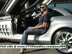 Kaitlyn gorgeous blonde slut takes pictures near a car