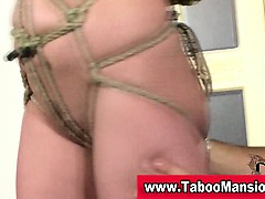 Tied up bondage slut victimized