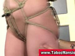 Tied up bondage slut victimized