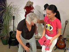 Old man dancing sex with teeny brunette cutie