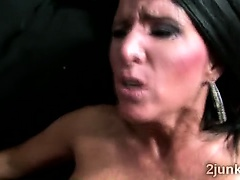 Big stacked brunette MILF fucks brotha in front of husband