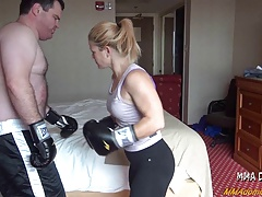 Beautiful Blonde Girl Beating Boxing Big Guy