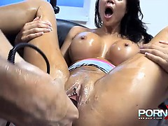 Busty brunette bitch gets hardcore pussy fisting