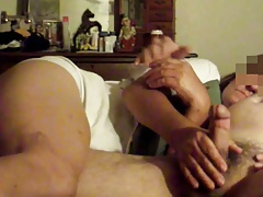 Girlfriend helps with morning jerk off