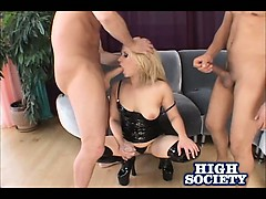 Blonde Aaralyn Barra Sucking Two Cocks