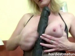 Busty mature milf and her big black dildo