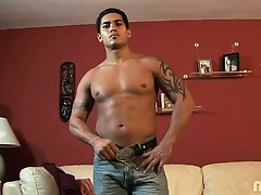 Well-muscled Latino stud Mr. Christian talks about his