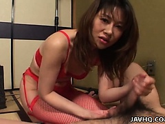 Remi Matsukawa in red lingerie and getting slammed
