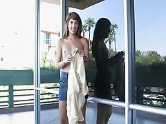 Melina brunette teen flashing and posing in a public place