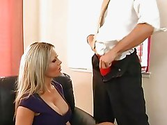 Stunning busty blonde does blowjob at work and having fun