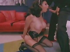 Naughty girl Tera Patrick deepthroating a massive hard wood