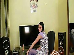 Skinny teen in blue nylon pantyhose toys herself