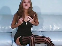Jenna Haze in wide striped black nylons