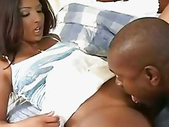 Sexy ebony babe gets her shaved pussy licked by dark chocolate hunk