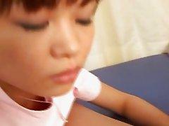 Gorgeous japanese nurse doing blowjob