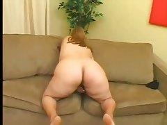 fat blonde masturbates her hairy pussy
