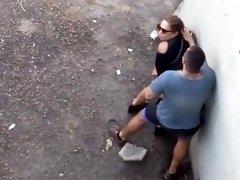 Street voyeur films a horny milf getting nailed doggystyle