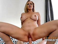 Blue- spotted light-haired doll, Julia Ann deep throats pecker and rails it in a POINT OF VIEW fashion