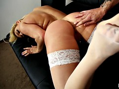 Fucking with hot blonde in stockings