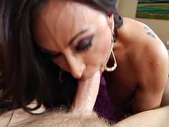 fake tits pornstar swallows cum after sucking a big cock in pov