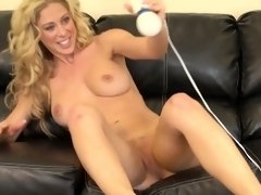 Bodacious blonde mommy Cherie Deville feeds her lust for masturbation