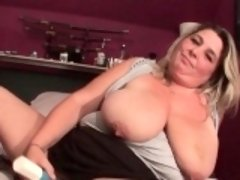 Huge tits mature drilling pussy with dildo