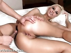 Cute blonde gets an anal creampie on top