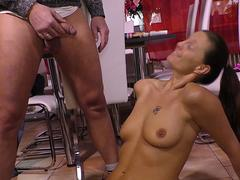 A kinky slut is eager to taste that small cock of her stepdad