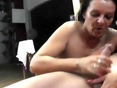 Mature bitch makes him jizz