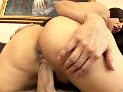 voluptuous busty milf blowjobs and fucks on the couch