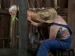 Bound blonde bimbo gets tied up and milked BDSM porn
