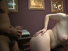 clayra beau sucks and bites a big black cock until it cums on her ass
