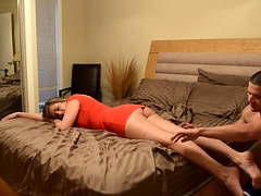 Buxom amateur babe with a wonderful ass gets pounded hard