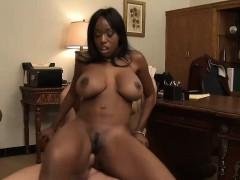 Busty ebony goddess has her tits creamed