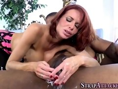 Strap Dildo clothed COUGAR in spandex gets plowed
