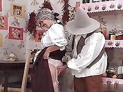 Hungarian gran Ibolya in national clothes fucks her grandson