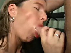 mom in black leather loves fetish with her son